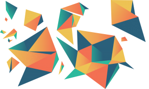 Abstract artwork featuring triangles connected in various patterns